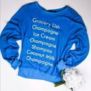 Wildfox Grocery List Champagne 5am Sweatshirt NWT